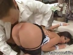 Filthy maid Jessica Rox and Jessica Neight in leashed anal threesome with throbbing stiff cock