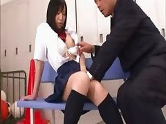 The locker room slut gets it from her teacher as he fingers her