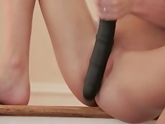Brutal toy in shaved blondies pussy
