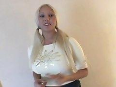 Cute blondie with big tits masturbates