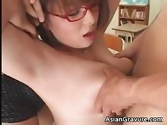 Nasty oriental teacher with giant boobs part1