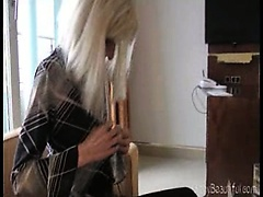 Sexy blonde bony skinny babe with anorexia posing in her panties