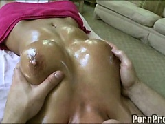 Hot babe gets a titty rub