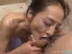 Skinny Mature Woman Masturbating In The Showr Sucking Guy Cock And Rimming Getting Facial
