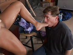 Male licks feet and dirty pussy