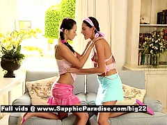 Devin and Deny lovely lesbo teens kissing and undressing