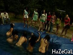 Lesbian women relax in group