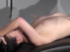 Sub tied down on a table and made to orgasm many times