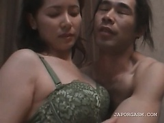 Topless excited asian gets her boobs licked in close-up
