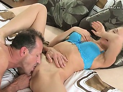 Busty mom pussy fucked and sprayed with cum in bed