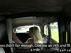 Busty blonde tits and pussy fucked in fake taxi