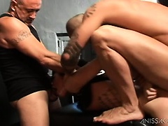 Nikita gets all her holes filled by two strong guys.