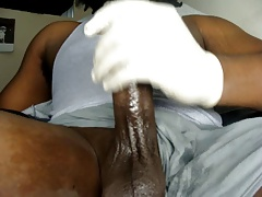 Thick Black Oily Cock jerk Show