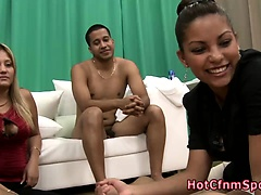 Fetish babes fucking humiliated dude