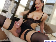 Shemale tranny sensually jerks off her prick HD