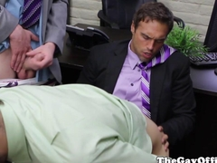 Office hunks have an assfucking threeway HD