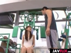 Asian rammed and made to cum at the gym