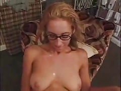 Horny blonde with glasses shared