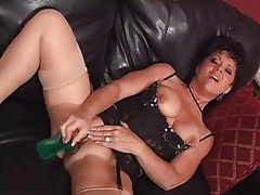 Hot Brunette Cougar Solo Diddling and Squirting